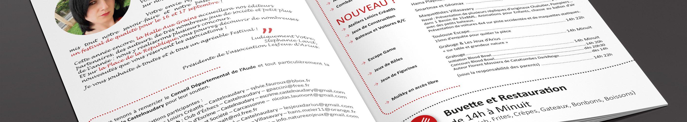 Pages intérieures de la brochure A5 du Festival des Jeux d'Arius 2017