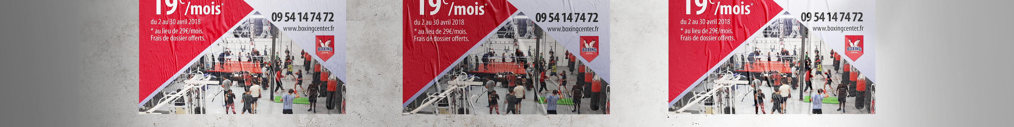 Affiche pour l'ouverture de la salle Boxing Center de Portet sur Garonne